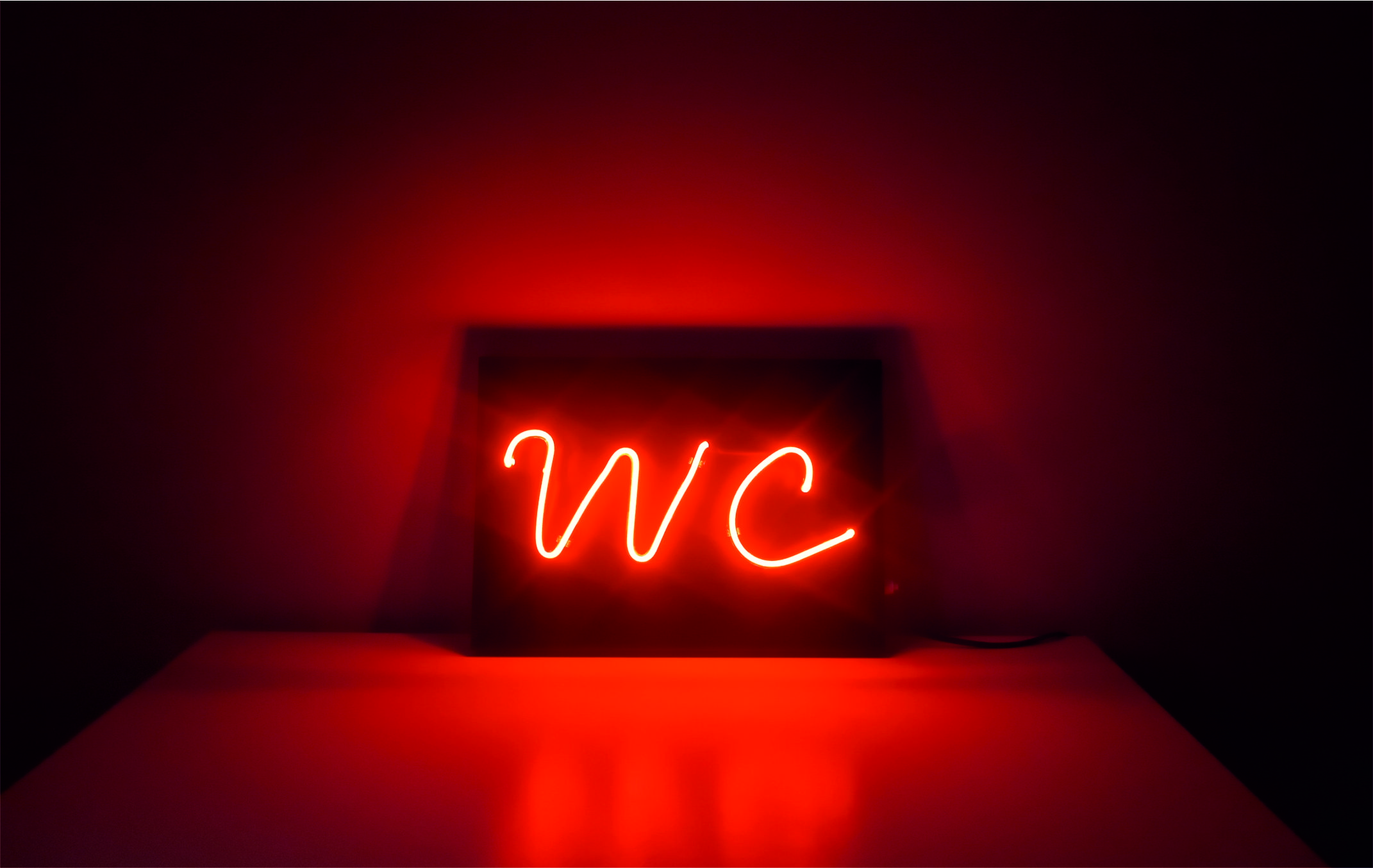 wc neon sign