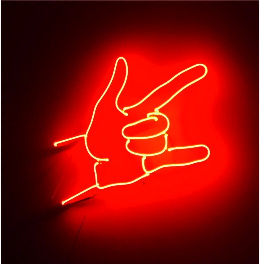 rock işareti neon light
