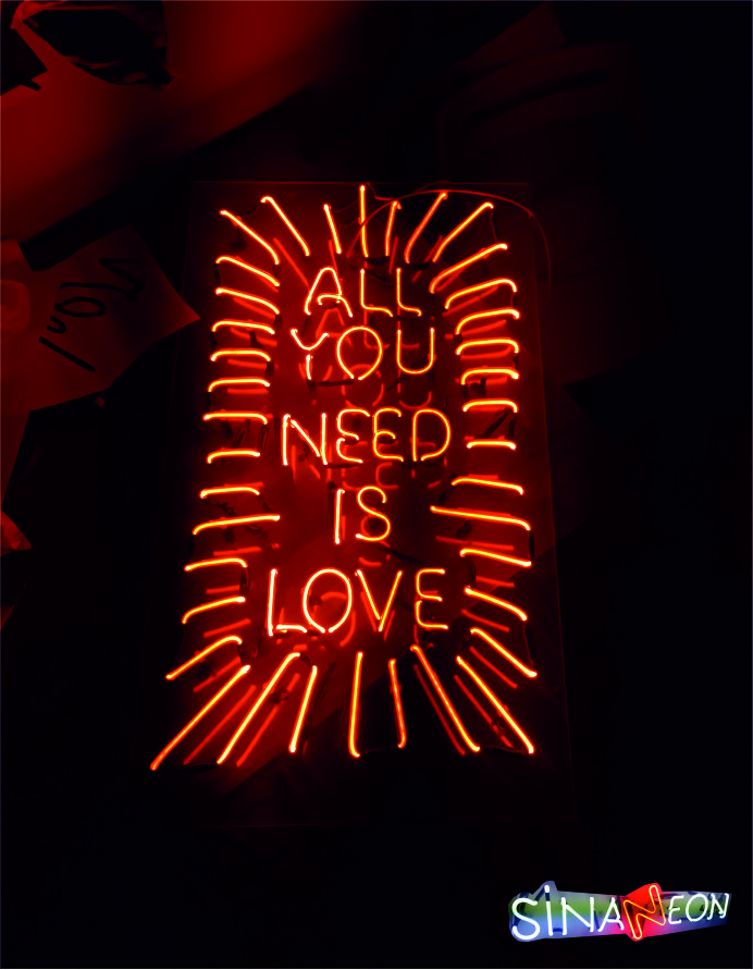 all you need is love led neon yazı