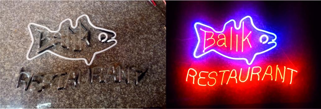 restaurant neon tabelası - balık restaurant neon